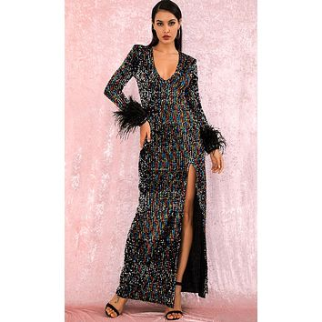 Moon Glow Black Multicolor Sequin Feather Trim Long Sleeve V Neck Side Slit Maxi Dress