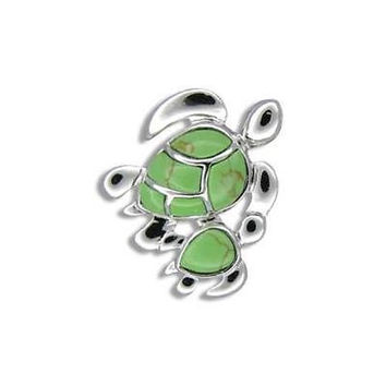 20MM SILVER 925 GREEN TURQUOISE HAWAIIAN MOTHER BABY TURTLE PENDANT RHODIUM