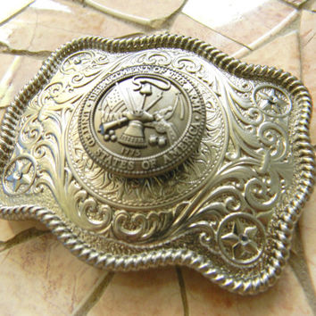 Army Silver Concho Belt Buckle, Western Womens Mens Engraved Military Belt Buckle, US Army Wife Girlfriend ,Army Belt, Groomsmen Gift