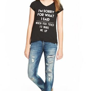Girl's Ten Sixty Sherman 'I'm Sorry for What I Said' V-Neck Tee,
