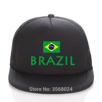 Trendy Winter Jacket Sun Hats Kids/Men Trucker Caps Summer baseball Hat Female Snapbacks Printed Football BRAZIL Flag AT_92_12