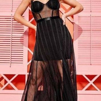 Coletta Black Mesh And Bandage Gown