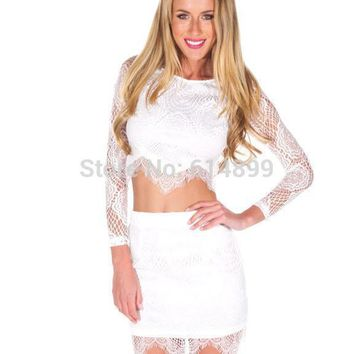 Ladies Summer white black flower lace two piece set dresses Pencil Bodycon dress Evening women Show your navel Long sleeve dress