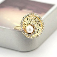 Elegant Adjustable White Lustrous Pearl Ring at Online Cheap Fashion Jewelry Store Gofavor