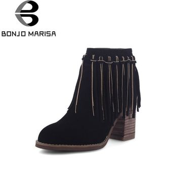 BONJOMARISA Women's Quliaty Suede Tassel Shoes Woman Chunky High Heel Platform Zipper Closure Ankle Boots Size 33-43