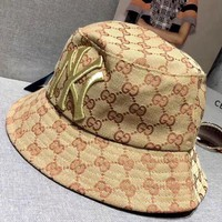 GUCCI x NY co-branded card embroidered cotton basic wild couple couple fisherman hat cap