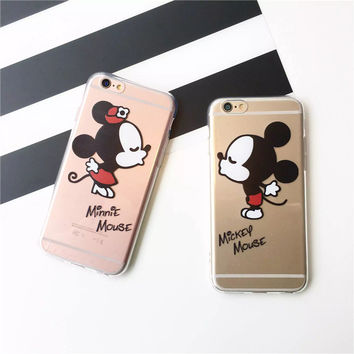 Cute Mickey Mouse Minnie Kiss Soft TPU Clear Phone Case Cover Coque Fundas For iPhone 7 7Plus 5 5S 6 6S 6Plus SE 5C 4 SAMSUNG S7