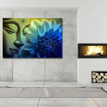 HD Print Blue flower buddha Oil Painting on canvas art print home decoration wall art picture living room decor painting /PT0266
