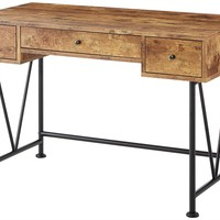 Antique Looking Nutmeg Color  Multi-purpose Desk With 3 Drawers For Home Office