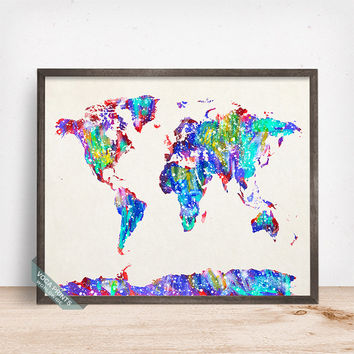 World Map Print, Watercolor World Map, Nursery Posters, Playroom Wall Art, Nursery Art, Kids Wall Art, Kids Room Decor, Mothers Day Gfit