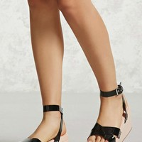Faux Patent Leather Platforms
