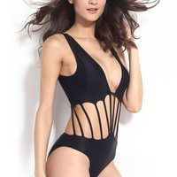 Black V- Neckline Strappy Cut- Out One Piece Swimwear