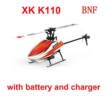 Original XK K110 BNF (without transmitter )(with battery and charger ) 6CH Brushless 3D 6G RC Helicopter Compatible with FUTABA