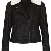 Jenson Fur Collar Biker Jacket - Jackets & Coats - Clothing - Topshop USA