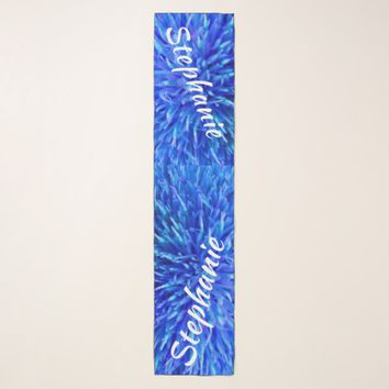 Blue Multi Floral Abstract, Personalized with Name Scarf