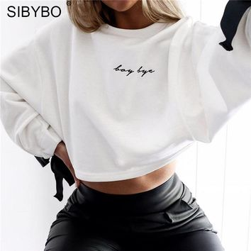 White Hoodies Women New Autumn Winter O Neck Bow Tie Long Sleeve Short Cropped Top Tracksuit Sexy Chic Knitted Sweatshirt