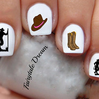 1182 Cowboy 20 Water Slide Nail Art Transfer Decals stickers
