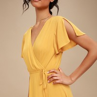 Harbor Point Mustard Yellow Wrap Dress