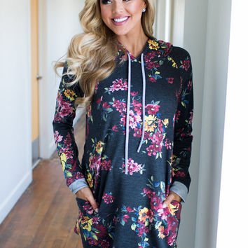 To Be There With You Floral Hoodie Tunic Dress Charcoal