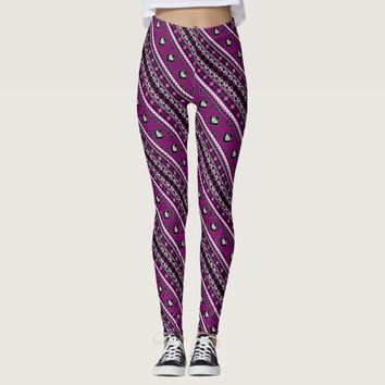 Cute violet lovely ukrainian patterns decorative leggings