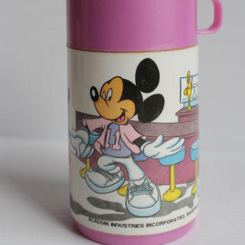 MICKEY and MINNIE MOUSE Thermos, Vintage Walt Disney thermos, Aladdin thermos, Pink thermos, gift for girl, Mickey Mouse collectible