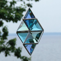 Beveled Glass Star Suncatcher 3D Ornament - Blue, Turquoise, Green with Silver Lines