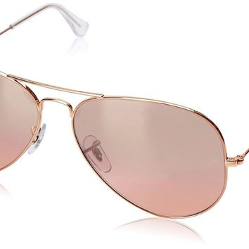 Ray-Ban AVIATOR LARGE METAL - GOLD Frame CRYS.BROWN-PINK SILVER MIRROR Lenses 62
