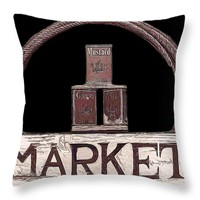 "Market Sign against Black Throw Pillow for Sale by Pamela Walton - 14"" x 14"""