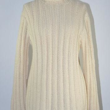 90s chunky hand knit wool sweater / vintage 1990s cream ribbed knit turtleneck / Polo