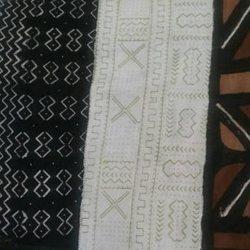 "Authentic Mali African Handmade  Natural off white Mud Cloth multi color/pattern (Vintage Feel) Bambara Fabric~68""x 40"" /boho blanket/throw/"