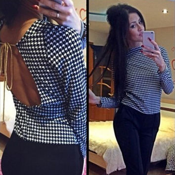 Summer Stylish Women Houndstooth Hollow Out Gold Strap Backless Tops