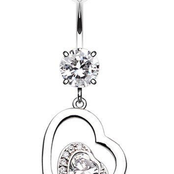 Sweet and Sparkly Heart Belly Button Ring