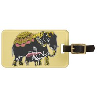 Ornate Elephants Yellow, Coral, Black Luggage Tag