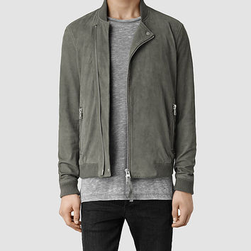 Mens Herne Leather Bomber Jacket (Cement) | ALLSAINTS.com