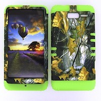 Motorola Droid Razr M Xt907 Camo Dried Leaves Heavy Duty Case + Lime Green Gel Skin Snap-On Protector Accessory