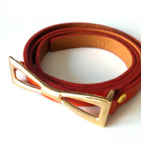 New Summer Season Orange Color  Women Belt with Bow Tie Golden  Buckle.