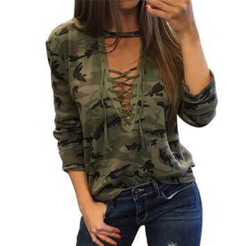 Women Camouflage V Neck Lace Up Halter Top Shirt Sexy Shirts Ladies Loose Bandage Camo Tee
