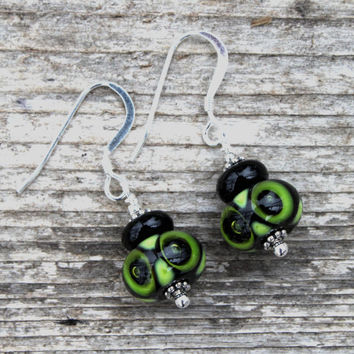 Green Owl Glass Dangle Earrings, Lampwork Jewelry, Green Glass, Lampworked Earrings, Glass jewelry, Sterling Silver, Green earrings, Owl