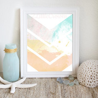 Abstract Watercolor Painting Printable Chevron Modern Art Print Peach Aqua Yellow Watercolor Printable Beach Decor Modern Art Abstract Art