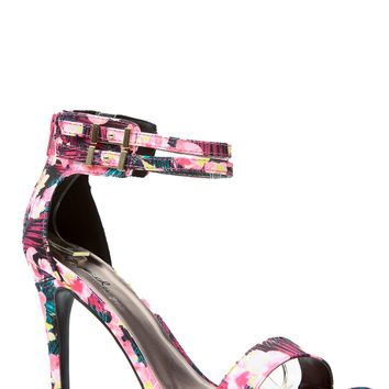Electric Floral Single Sole Heels