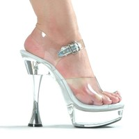 Clear Ankle Strap Platform Sandal With 6 Inch Silver Cone Heel Stripper Shoes