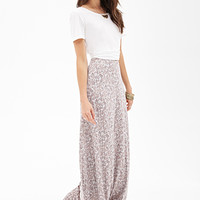 LOVE 21 Blurred Floral Maxi Skirt Beige/Peach