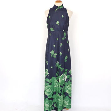 Vintage 1960s 70s Green Rose Floarl Maxi Hostess Gown Hippie Prom Dress Long Bridesmaid Dress Summer Sundress Groovy Hippie Boho Folk Dress