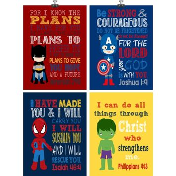 Set of 4 Superhero Wall Art - Christian Print Captain America, Hulk, Batman Spiderman Nursery Decor - Bible Verse