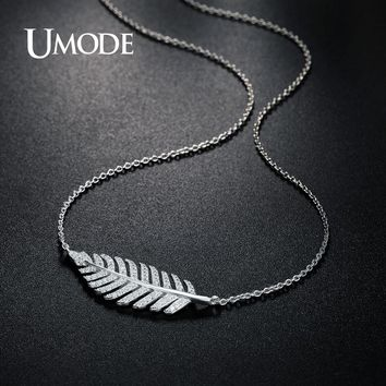 UMODE Brand Real 925 Sterling Silver Jewelry Feather Pendant Necklace for Women White Gold Color Leaf Necklace Colar AUN5002