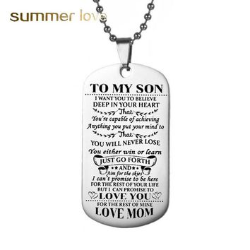 TO MY SON Stainless Steel Pendant Necklaces Engrave Name Love Dad/Mum ID Dog Tag Collar Necklaces Nameplated Customized Logo