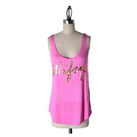 """Wifey"" Tank Top, Pink-gold (Size M)"