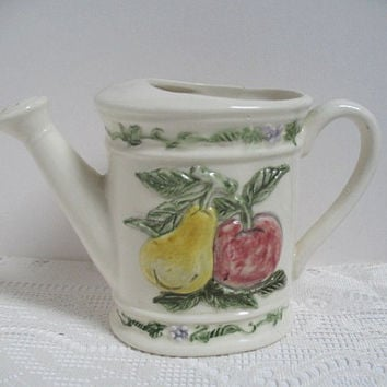Vintage Ceramic Watering Can Fruit Pattern 1974 Home Decor