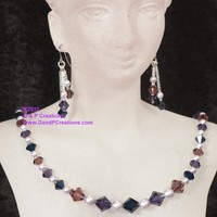 Swarovski Indigo Purple Velvet Amethyst Crystals Pearls Necklace Earrings