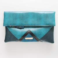 CARRIER 35 / Large leather fold over daily clutch bag - Ready to Ship